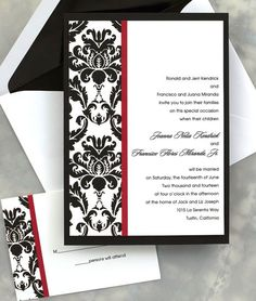 An Elegant Damask Border Accents The Left Side Of This Single Panel Invitation Is Then Accented With Colorful Vertical Stripe