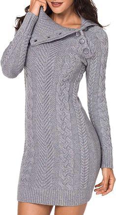 Femme Froid Épaule Femme Col Boule chiné en tricot à manches longues Midi Robe Moulante