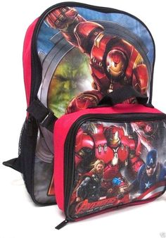 """Avengers Age of Ultron School 16"""" Backpack SET insulated Lunch Pail School Bag  #Marvel #BackpackLunchBagCombo"""