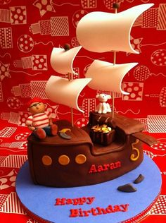 Chocolate pirate ship cake