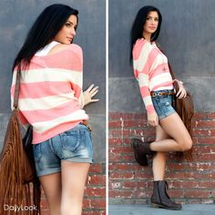 Check out Boho Neutral Stripe Look by Sole Mio and Machine Jeans at DailyLook