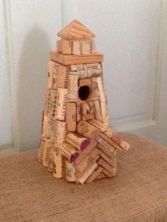 Wine Cork Covered Birdhouse, Lighthouse