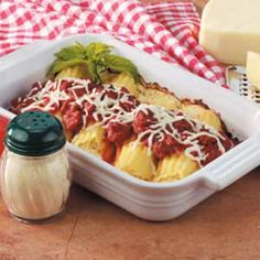Manicotti for Two Recipe -Manicotti shells are filled with a three-cheese mixture, when topped with store-bought spaghetti sauce beefed up with flavorful sausage. Enjoy them with sliced canned pears and frozen garlic bread...or accompany the entree with steamed fresh green beans and warm Italian bread.