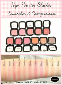 Nyx Powder Blush Swatches & Comparison | Mauve, Peach, Pinched, Coral Dream, Dusty Rose, Mocha, Desert Rose, Pinky, Cinnamon, Terra Cotta and Taupe Makeup To Buy, Makeup Swatches, Blush Makeup, Drugstore Makeup, Drugstore Blush, Nyx Blush, Expensive Makeup Brands, Nyx Powder, Makeup Products