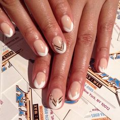 .@Valley Nails NYC | So chic! #french #metallic done by Karen!