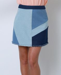 Color: Mixed Blue Size: Small, Medium, Large Product Detail +Medium weight patchwork denim mini skirt +Exposed back zip closure +Raw edge hem finish +Unlined +True to size Attention +75% Cotton, 25% P