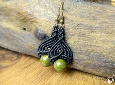 Micro Macrame Unakite Earrings Boho Jewelry by MacrameJewelsVili