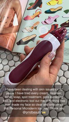Personal Microderm est votre outil de microdermabrasion à domicile pour une peau claire et éclatante! Un traitement de 5 minutes une fois par semaine suffit. Spot Treatment, Radiant Skin, Art Education, Take That, Tools, Art Education Resources, Appliance