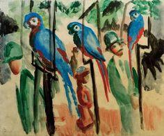 August Macke, At the parrots / 1914 #August #Macke #weewado #august #macke #german #art #parrot #bird