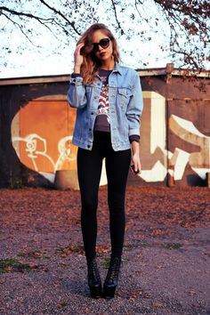 denim jacket, love!, grunge chic