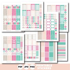 Turquoise, brown and pink printable weekly planner stickers with daily stickers, work stickers, fitness stickers and much more, STI-403