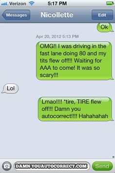 Last year, we cringed and laughed at the top auto-correct text messages sent to friends and loved ones. You'd think we would have learned our lesson by now. Funny Text Fails, Funny Text Messages, Funny Texts, Text Memes, Funny Images, Funny Photos, Autocorrect Funny, Auto Correct Texts, Auto Correct Fails