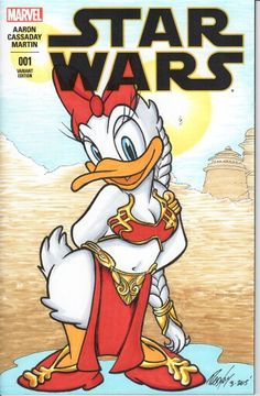 Daisy Duck as Slave Leia on blank sketch cover original artwork by Rodney Fyke.