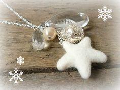 Cream pendant necklace handmade silver beaded necklace cream beads winter necklace pendant necklace Christmas necklace festive (15.00 GBP) by reccabella http://ift.tt/1MQZtIF