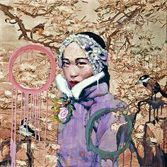 "Hung Liu. Apple Blossom. 2015. mixed media on panel. 41"" x 41"""