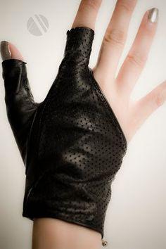 Revolver by Mila Hermanovski, black perforated fingerless gloves