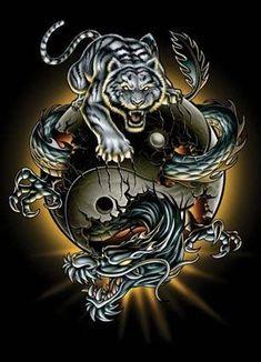 Dragon And Tiger Yin Yang Tattoo, Tiger Dragon, Blue Dragon, Mythical Creatures Art, Fantasy Creatures, Dragon Wallpaper Iphone, Yin Yang Tattoos, Shadow Warrior, Warrior 2