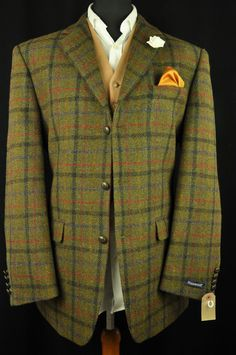 "Vtg Harris Tweed Checked Country Hacking Jacket 46"" #202 PRSITINE 