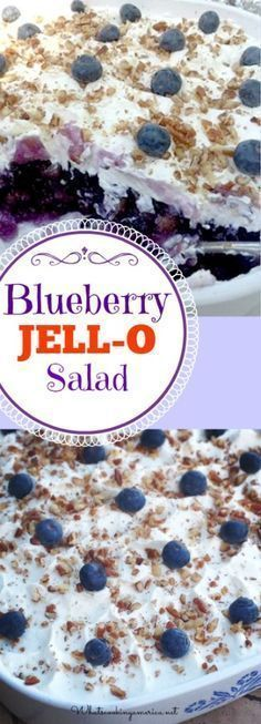 Blueberry Jello salad mixed with pineapple and blueberry pie filling is a classic JELL-O dish from the that is popular in the Southern states. I would probably use Cool Whip for the topping! Jello Deserts, Köstliche Desserts, Dessert Recipes, Health Desserts, Blueberry Jello Salad, Blueberry Recipes, Blueberry Ideas, Blueberry Jelly, Dessert Salads