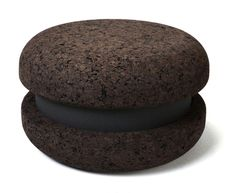 This stool is made of cork and foam: MACARON by Haymann | Design Toni Grilo.