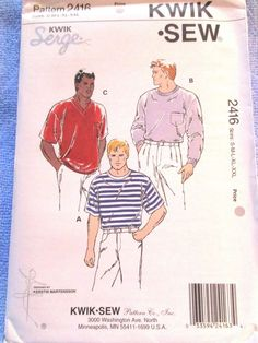 Kwik Sew Mens T-Shirts Pattern 2416 Size S M L XL XXL Uncut #Kwiksew