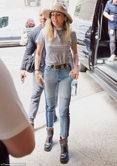 Keeping it casual: The 24-year-old was spotted on the way to a radio appearance, dressed i...