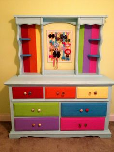 The rainbow dresser I did for my daughter