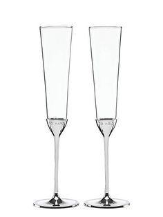 """Celebrate your special day with these elegant kate spade new york Take the Cake Toasting Flutes. Each flute features a silver-plated base that is charmingly engraved: """"To Have"""" on one and """"To Hold"""" on the other. Toasting Flutes, Champagne Flutes, Spade Champagne, Wedding Champagne, Crystal Champagne, Best Engagement Gifts, Engagement Party Planning, Wedding Planning, Flute Glasses"""