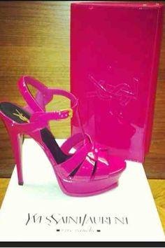 Hot Fuschia Pink YSL SS13 Tribute heels and matching clutch combo