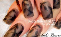 Matte Black Leaves on Gray Nails #nails #nail #art #matteblack #mattenails #matteblacknails #graynails #greynails #cutenailart #elegantnails #DIYeasynailart