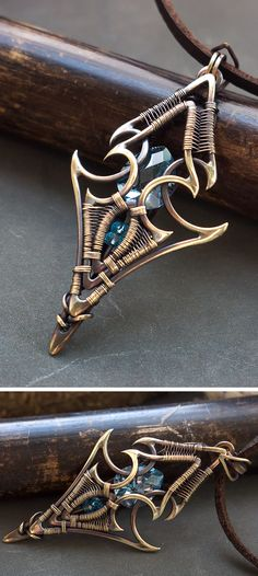 Fantasy elven wire wrapped pendant