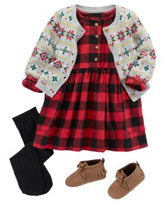 This fall-ready outfit features a cozy checkered dress and oh-so cute bow moccasins. Layer up with this fair isle cardigan and tights for extra style and added warmth!
