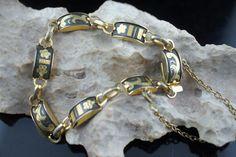 Vintage Art Deco bracelet  gold  tone charm floral design safety chain  cc114 by VintageEstate86 on Etsy