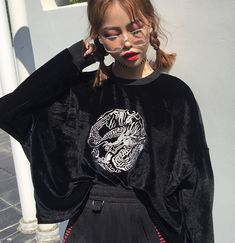 Women Vintage Hoodies Pullover Dragon Embroidery Sweatshirt Black Streetwear Casual Loose Tracksuit sold by anegelacloset. Shop more products from anegelacloset on Storenvy, the home of independent small businesses all over the world.
