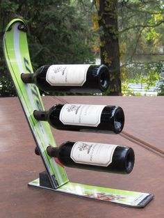 Features:  -Recycled snow ski wine rack is made from the tip and tail.  -Bottles are stored on their sides to properly maintain the wines integrity.  -While the reclaimed skis, slightly weathered from