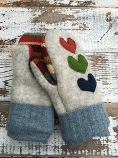 BLACK FRIDAY SALE Felted Wool Mittens Love Me-Heart by whimsiedots