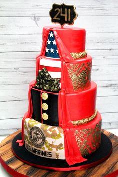 Groovy 10 Best Marine Corps Cake Images Marine Corps Cake Marine Cake Birthday Cards Printable Trancafe Filternl
