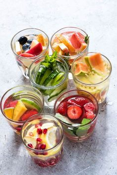 Quench your thirst with these 7 Infused Water recipes. Full of fresh fruit and herbs, I show you how to easily make healthy & refreshing Fruit-Infused Waters with step-by-step images. Healthy Juices, Healthy Nutrition, Healthy Drinks, Healthy Water, Cucumber Infused Water, Infused Water Recipes, Vegetarian Recipes, Healthy Recipes, Whole30 Recipes