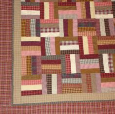 Queen size Red brown tan and gold homespun quilt by 4quiltsandmore, $199.00