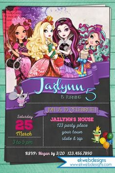 Ever After High Birthday Invitations - Chalkboard invite