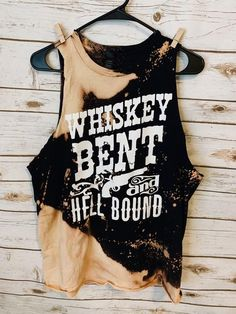 Whiskey bent hell bound acid wash distressed tee // bleached country festival shirt // watershed sleeveless tank t shirt Gebleichte Shirts, Bleach T Shirts, Vinyl Shirts, Cute Shirts, Ripped Shirts, Tie Dye Shirts, Country Style Outfits, Country Fashion, Cute Country Clothes