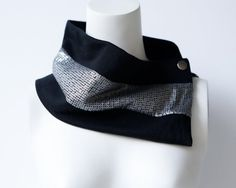 Black and Silver Trim Scarf Cowl Scarflette by Felinus on Etsy Accessories Gifts