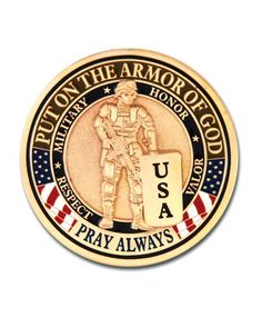 The Armor of God Military coin is a special edition of our popular Armor of God coin. We have replaced the roman soldier with a military soldier and highlighted the US Military colors.