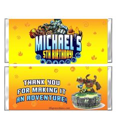 Skylander Giants Candy Bar party favors