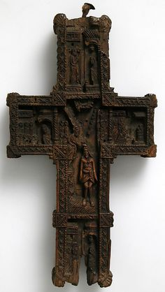 Carved wood cross, ca 1400-1600, Russia.