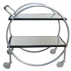 french art deco modernist bar cart / tea trolley