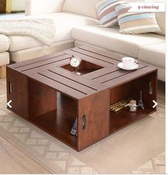 Furniture of America The Crate Square Vintage Walnut Coffee Table with Open Shelf Storage - Overstock™ Shopping - Great Deals on Furniture of America Coffee, Sofa & End Tables Wine Crate Coffee Table, Walnut Coffee Table, Cool Coffee Tables, Coffee Table With Storage, Walnut Table, Table Storage, Crate Storage, Cofee Tables, Crate Desk