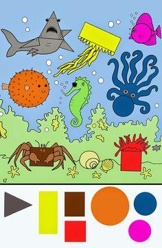 Voor Štípa: Werkbladen gezichtsverf Vocational Skills, Learning Activities, Kids Rugs, Ocean, Shapes, School, Water, Draw, Geometric Fashion