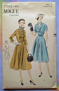 Vintage 1951 Vogue Pattern for a shirtwaist dress.  Size 12 was the most popular size..