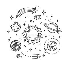 Illustration about Hand drawn solar system with sun, planets, asteroids and other outer space objects. Cute and decorative doodle style line art. Illustration of cosmos, earth, illustration - 57339771 Mini Drawings, Space Drawings, Cute Easy Drawings, Doodle Drawings, Simple Doodles Drawings, Tumblr Drawings, Tumblr Coloring Pages, Cute Coloring Pages, Space Coloring Pages